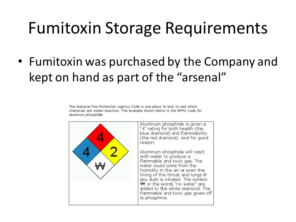Fumitoxin Storage Requirements