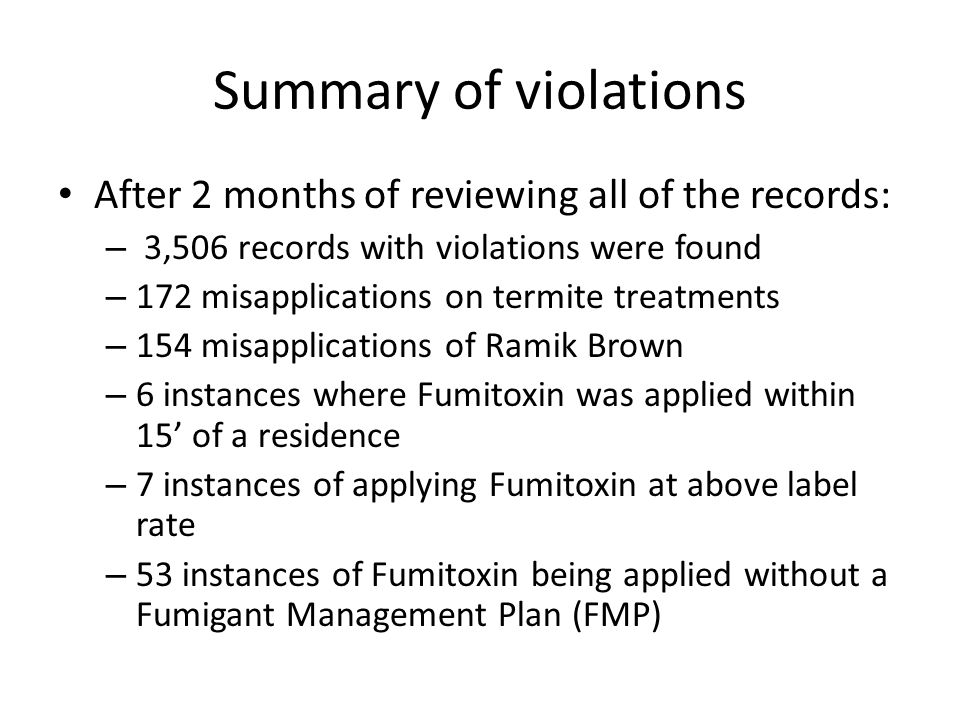 Summary of violations After 2 months of reviewing all of the records: