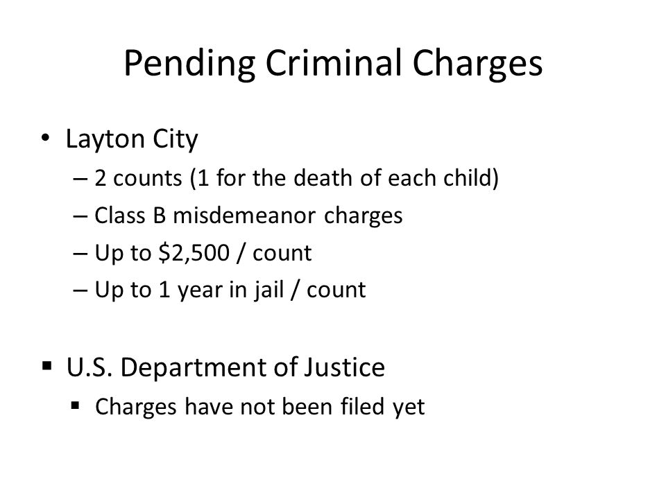 Pending Criminal Charges