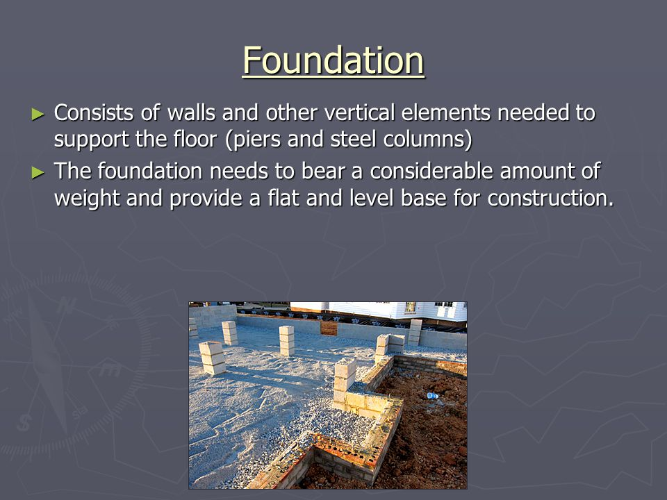 Foundation Consists of walls and other vertical elements needed to support the floor (piers and steel columns)