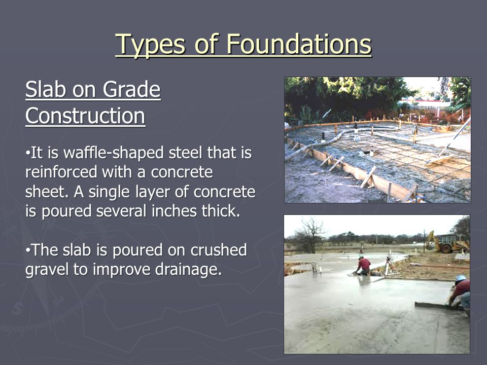 Types of Foundations Slab on Grade Construction