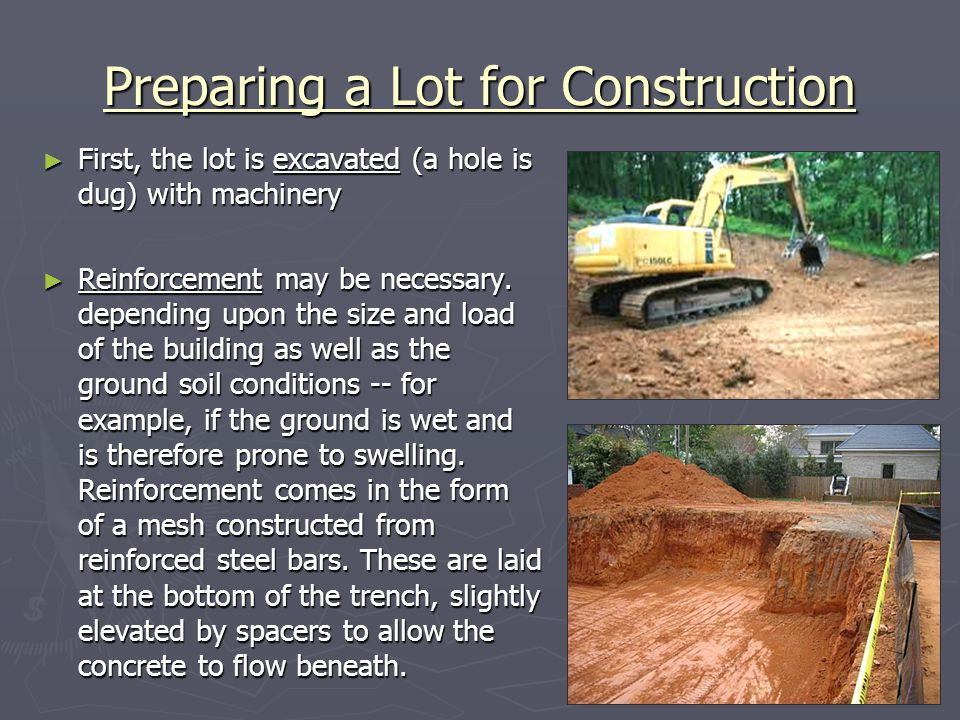 Preparing a Lot for Construction