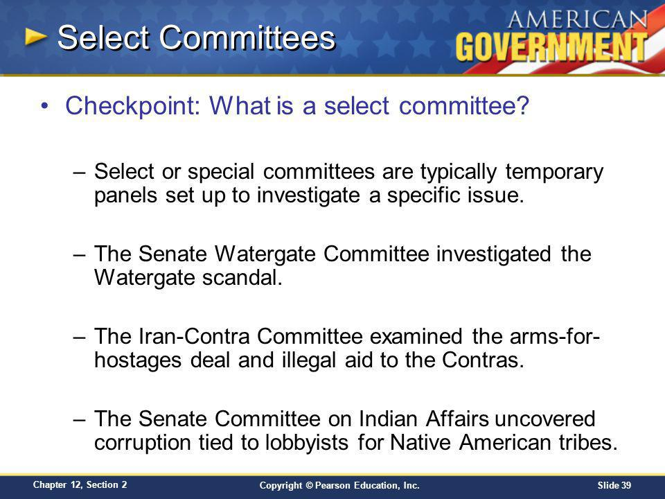 Select Committees Checkpoint: What is a select committee