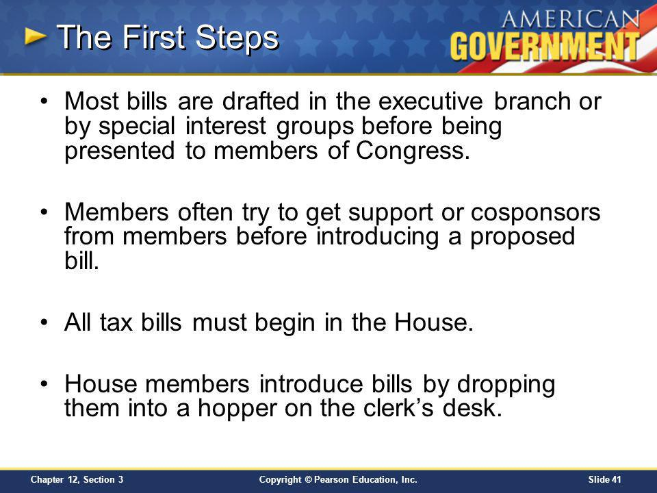 The First Steps Most bills are drafted in the executive branch or by special interest groups before being presented to members of Congress.