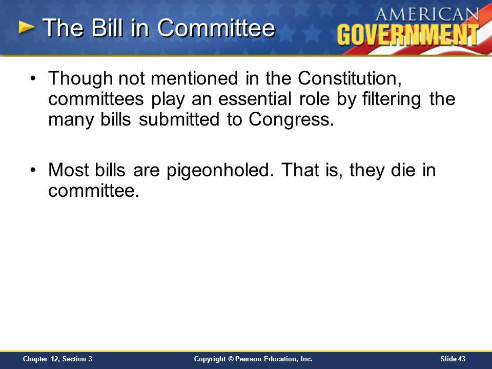 The Bill in Committee Though not mentioned in the Constitution, committees play an essential role by filtering the many bills submitted to Congress.