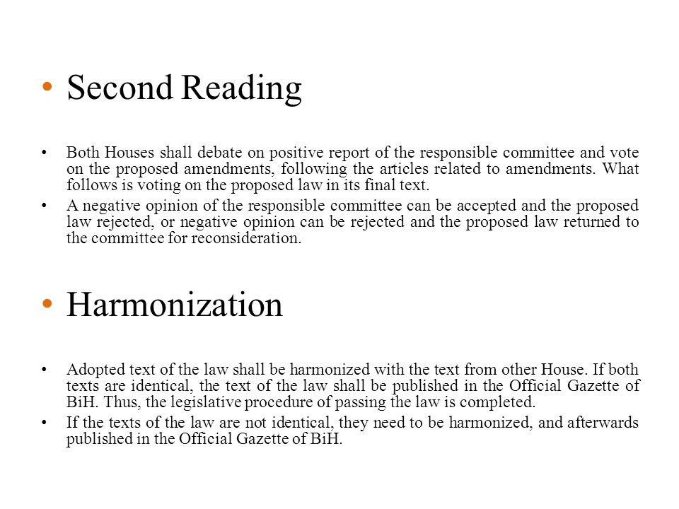 Second Reading Harmonization
