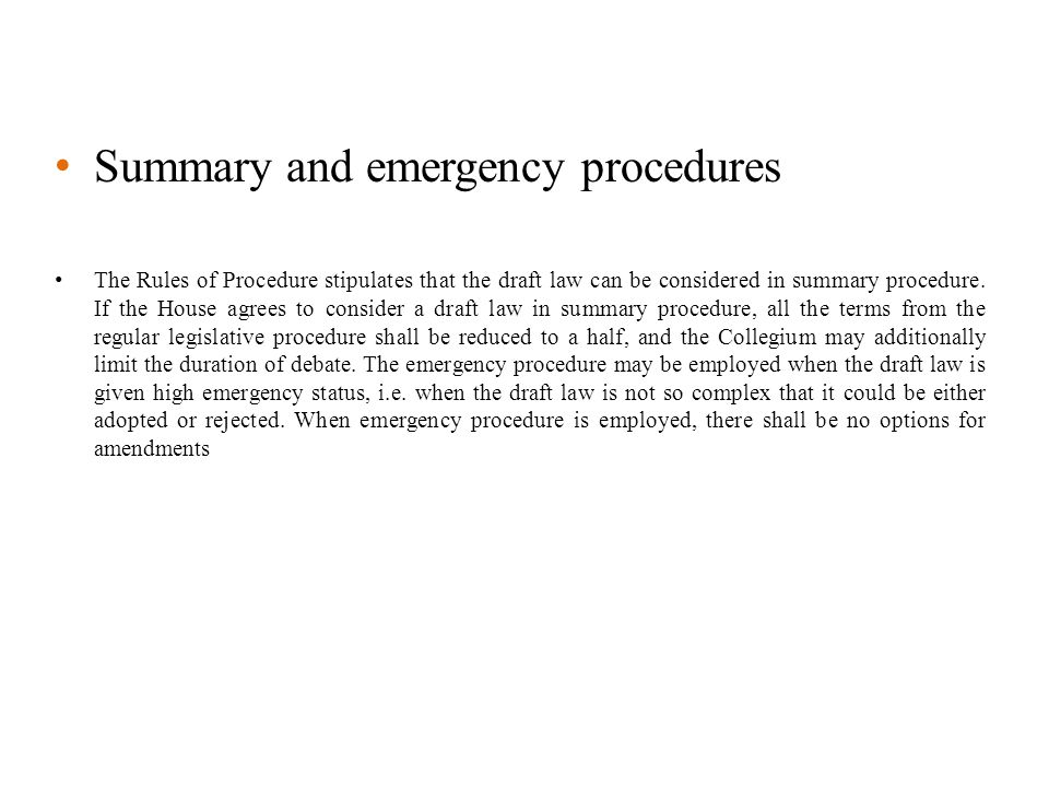 Summary and emergency procedures