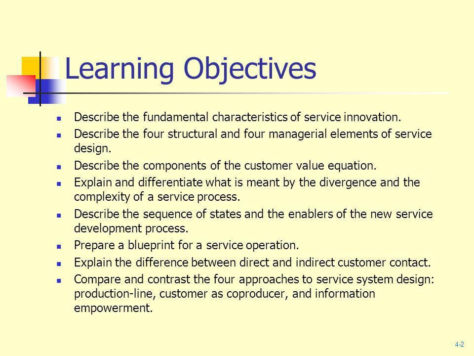 Learning Objectives Describe the fundamental characteristics of service innovation.