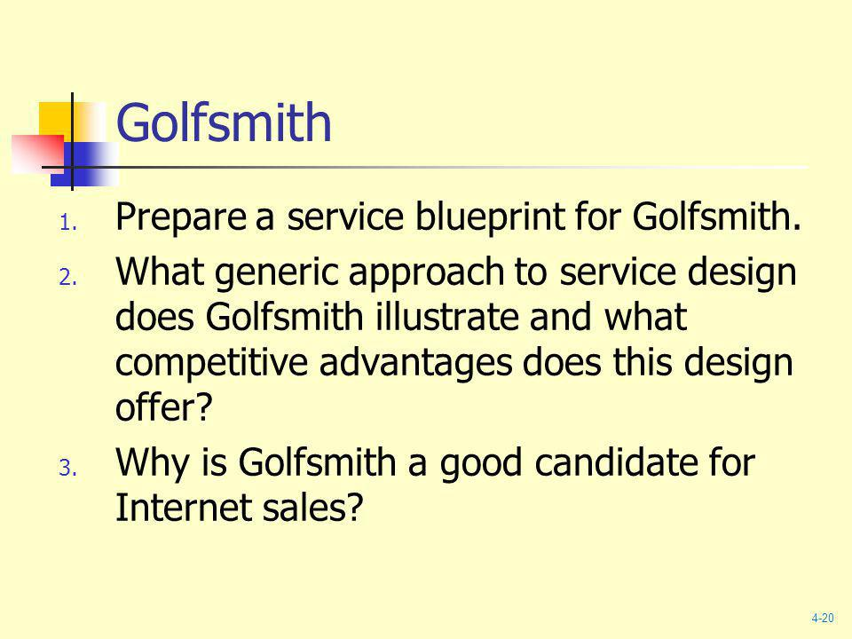 Golfsmith Prepare a service blueprint for Golfsmith.