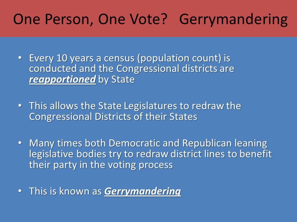 One Person, One Vote Gerrymandering