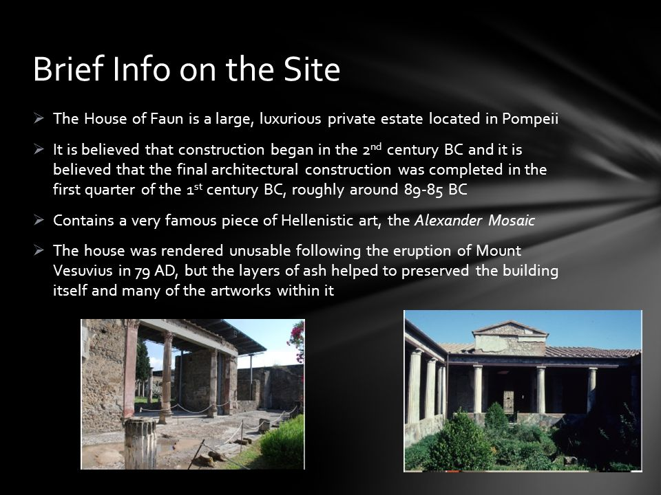Brief Info on the Site The House of Faun is a large, luxurious private estate located in Pompeii.