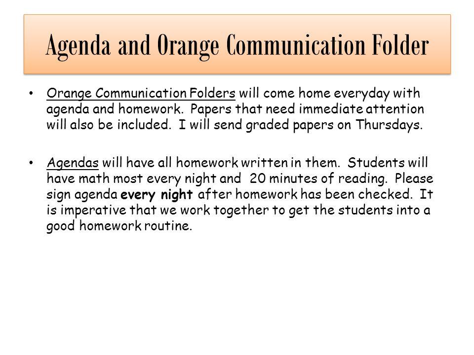 Agenda and Orange Communication Folder