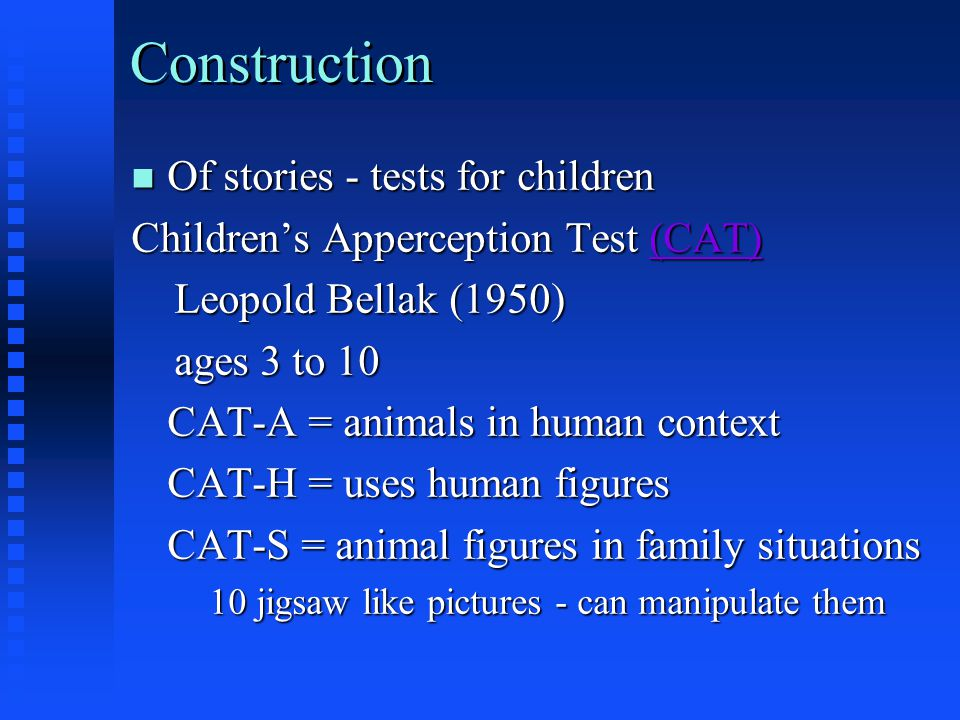 Construction Of stories - tests for children