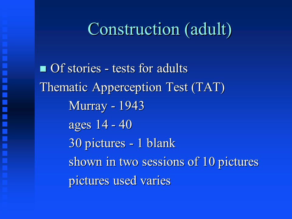 Construction (adult) Of stories - tests for adults