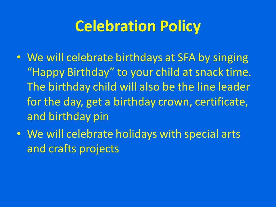 Celebration Policy