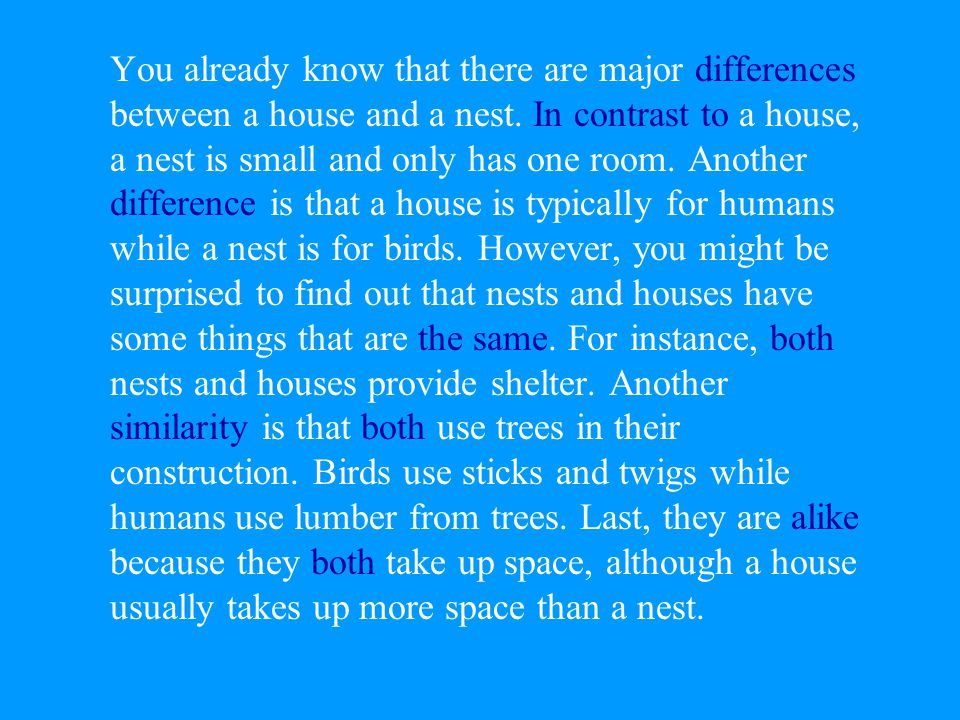 You already know that there are major differences between a house and a nest.