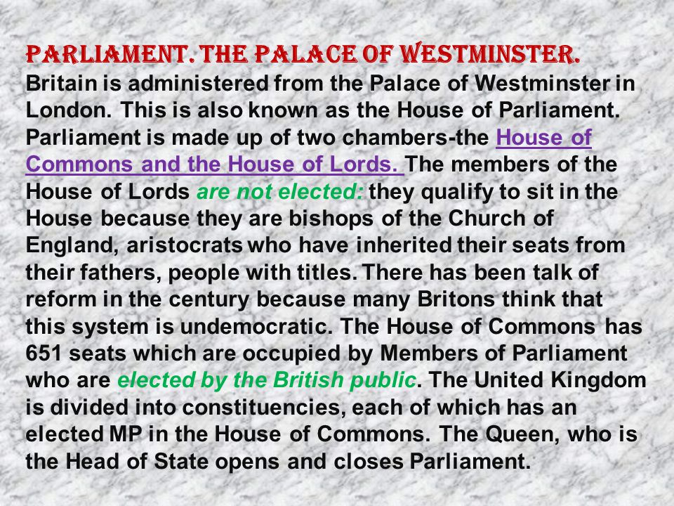 Parliament. The Palace of Westminster.