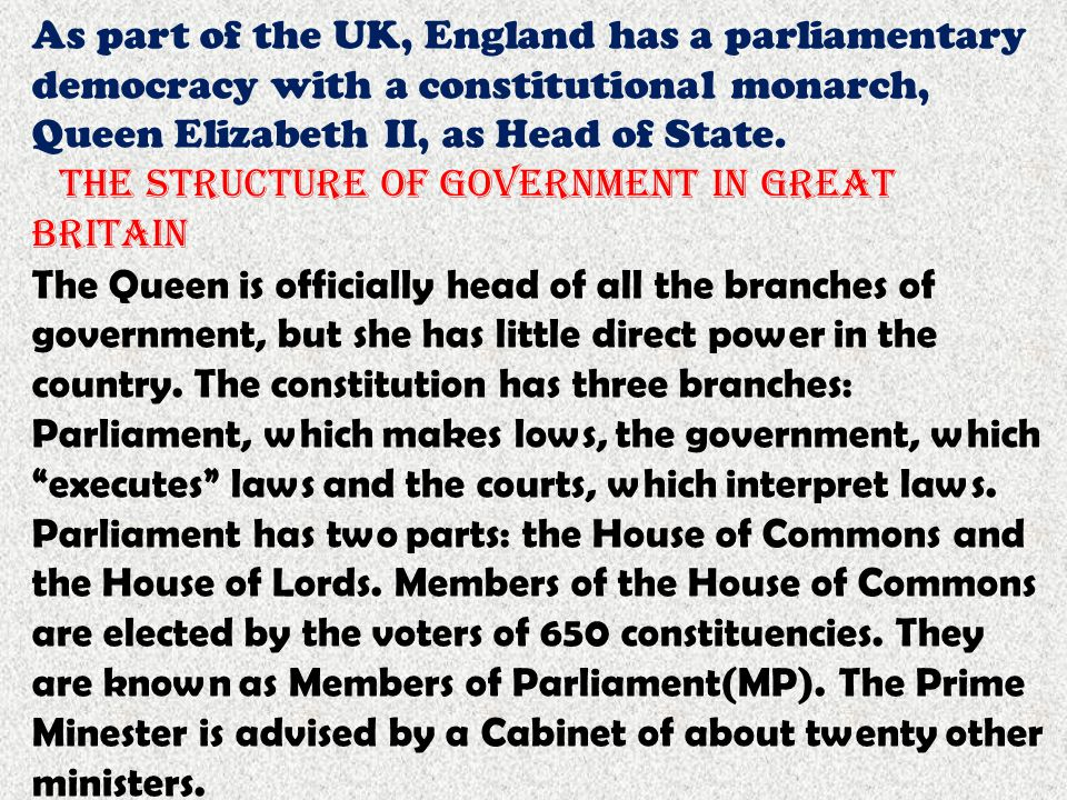 As part of the UK, England has a parliamentary democracy with a constitutional monarch, Queen Elizabeth II, as Head of State.