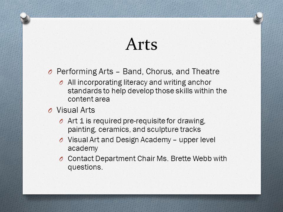 Arts Performing Arts – Band, Chorus, and Theatre Visual Arts