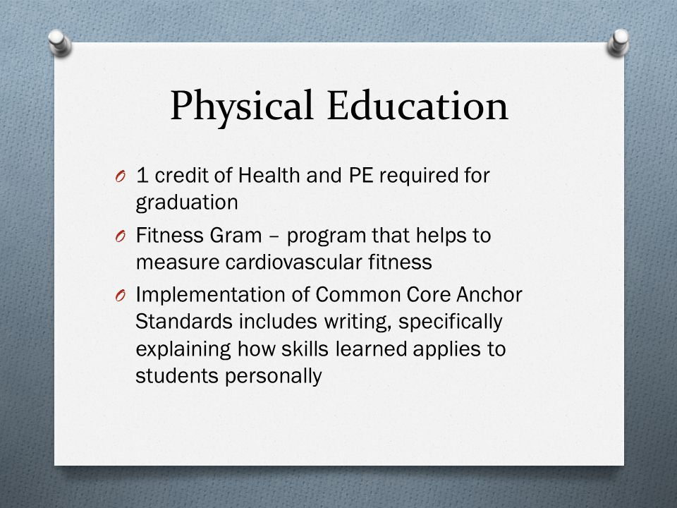 Physical Education 1 credit of Health and PE required for graduation