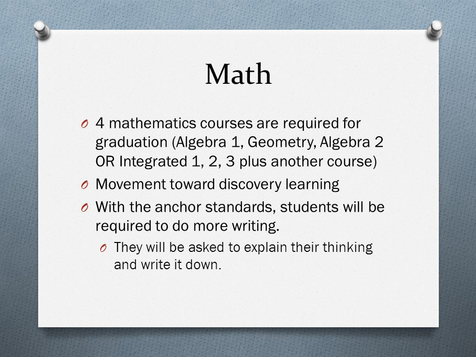 Math 4 mathematics courses are required for graduation (Algebra 1, Geometry, Algebra 2 OR Integrated 1, 2, 3 plus another course)