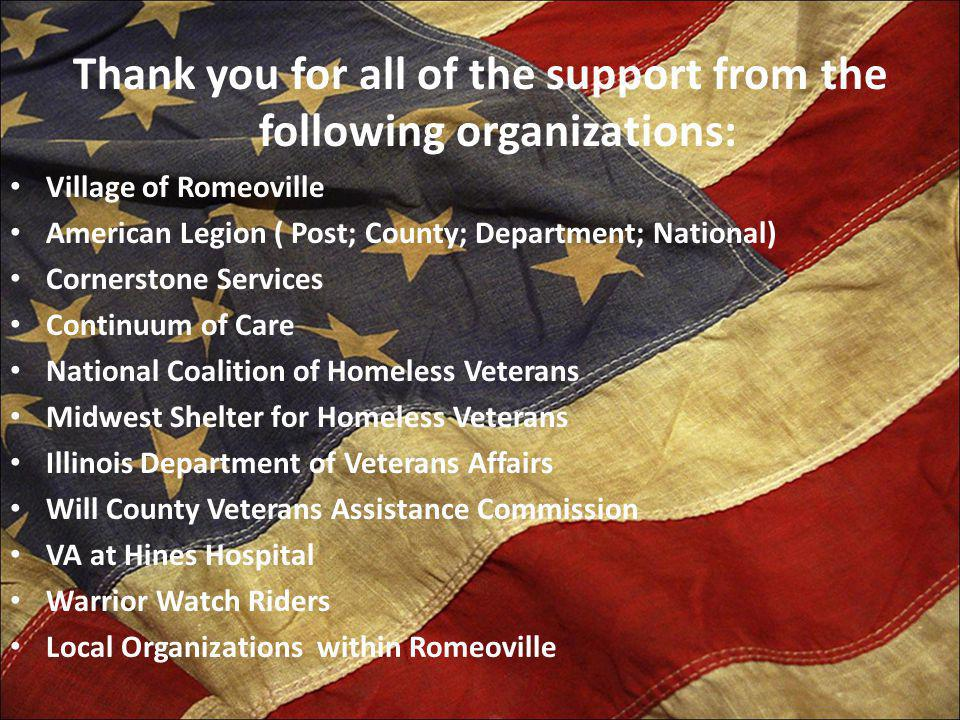 Thank you for all of the support from the following organizations: