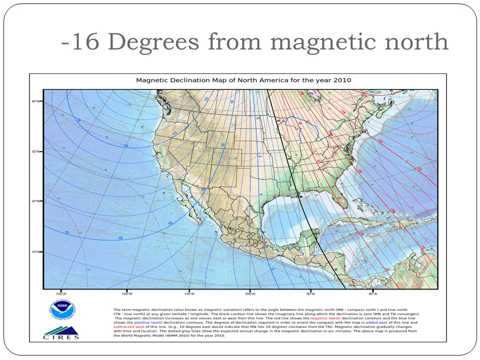 -16 Degrees from magnetic north