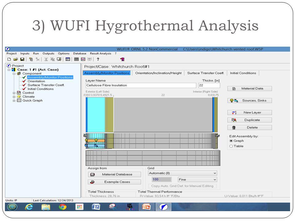 3) WUFI Hygrothermal Analysis