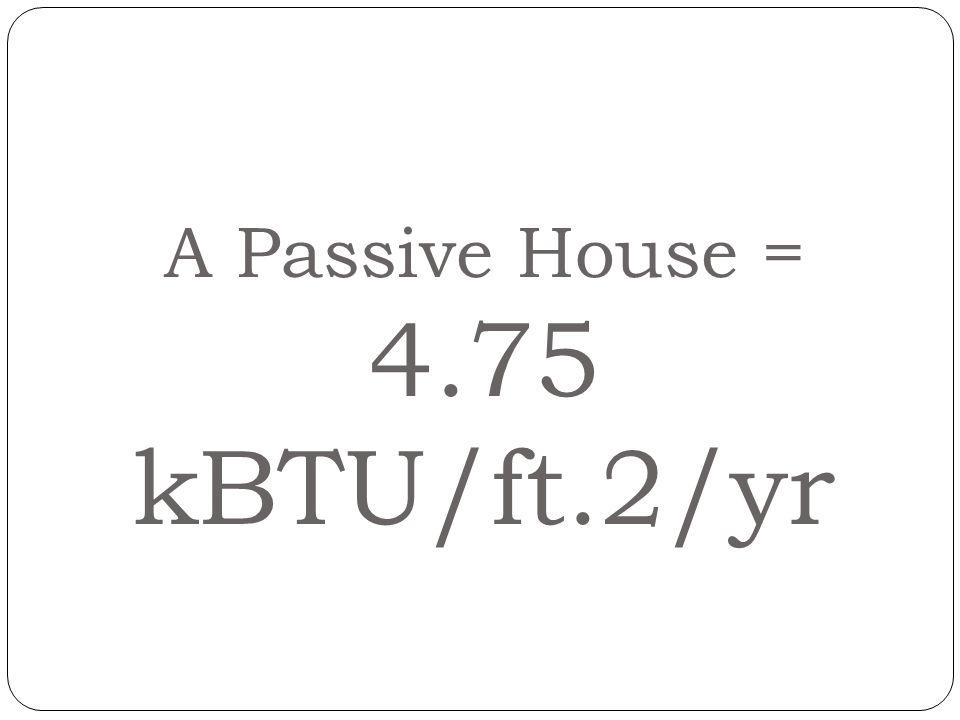 A Passive House = 4.75 kBTU/ft.2/yr