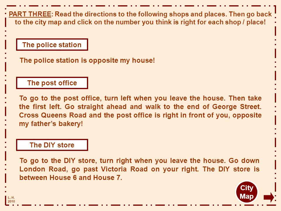 The police station The post office The DIY store City Map