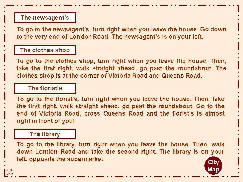 The newsagent's The clothes shop The florist's The library City Map