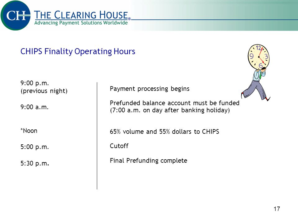 CHIPS Finality Operating Hours