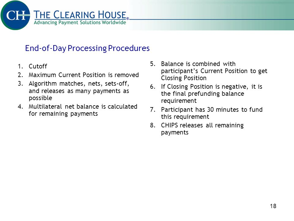 End-of-Day Processing Procedures