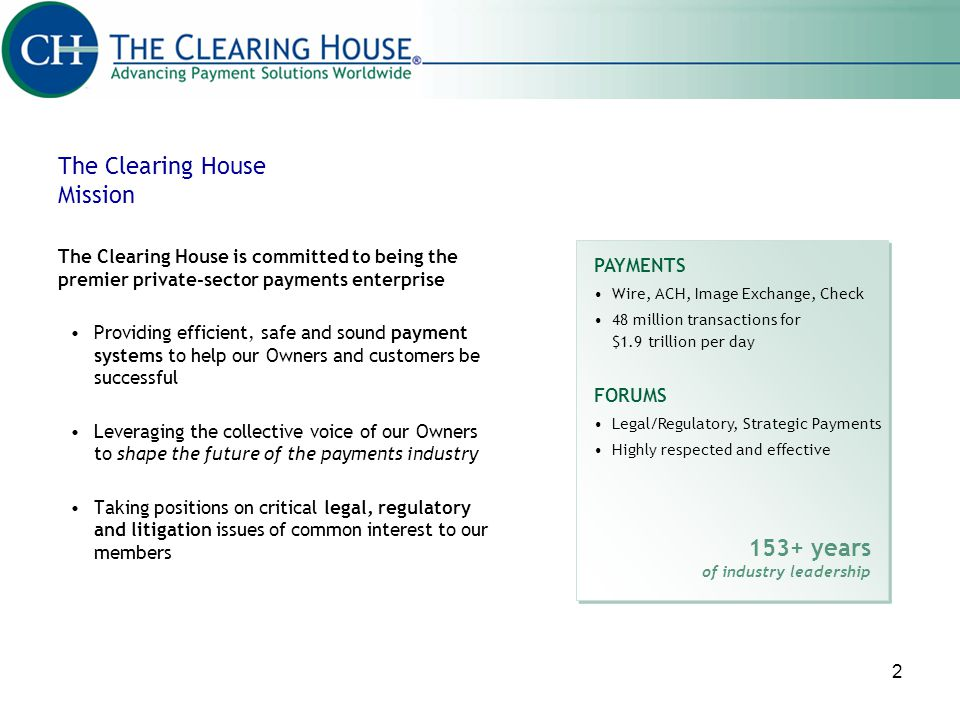 The Clearing House Mission