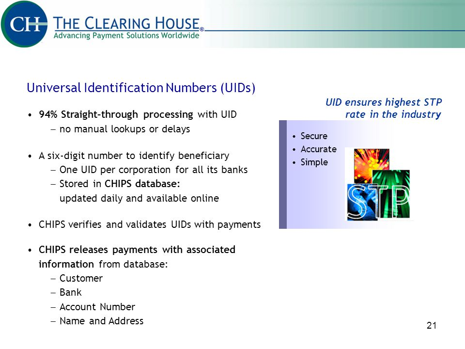 Universal Identification Numbers (UIDs)