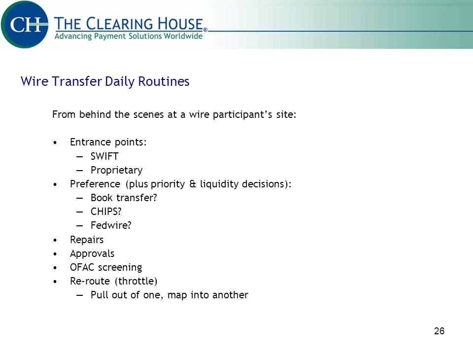 Wire Transfer Daily Routines