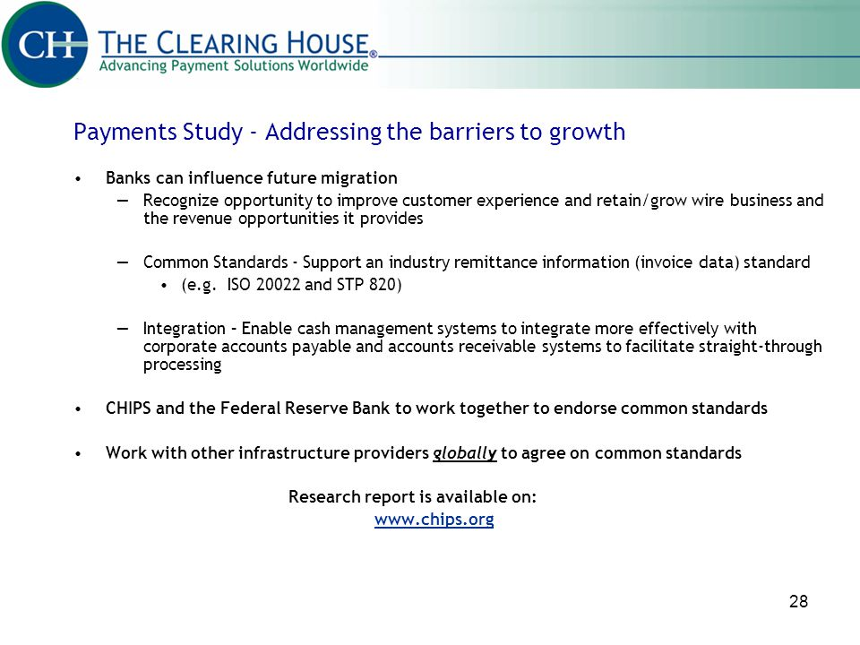 Payments Study - Addressing the barriers to growth