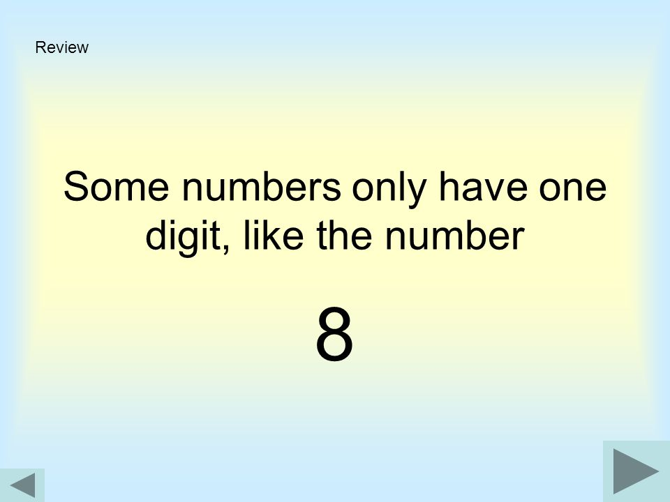 Some numbers only have one digit, like the number