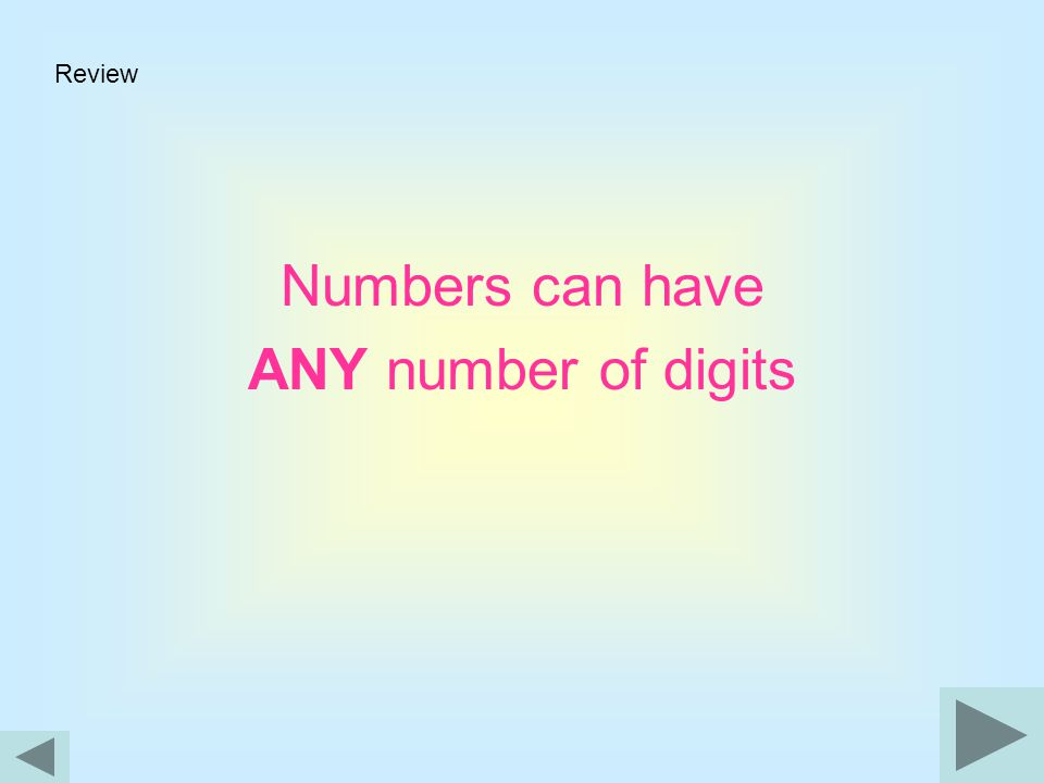 Review Numbers can have ANY number of digits