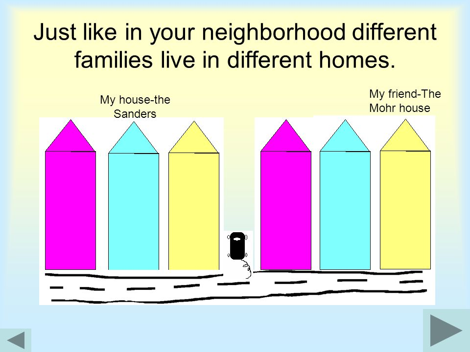 Just like in your neighborhood different families live in different homes.