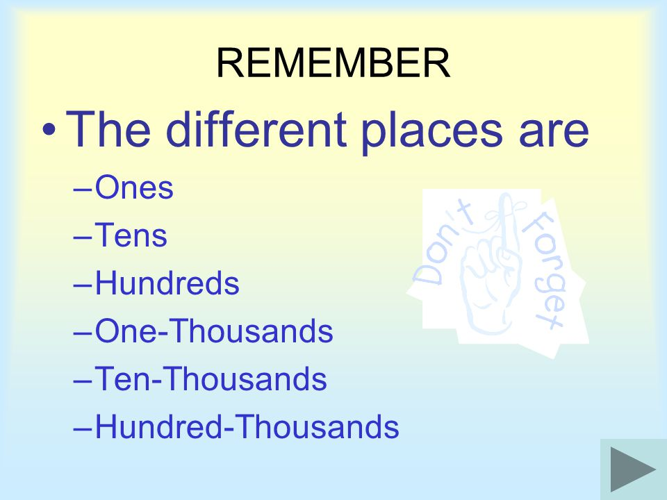 The different places are