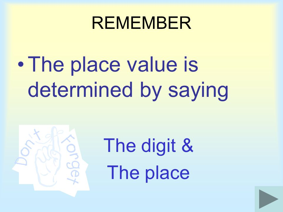 The place value is determined by saying