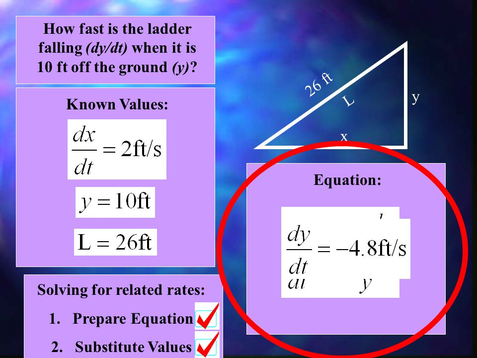 Solving for related rates: