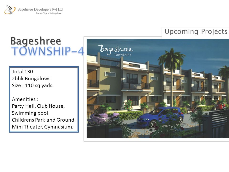 TOWNSHIP-4 Bageshree Upcoming Projects Total 130 2bhk Bungalows