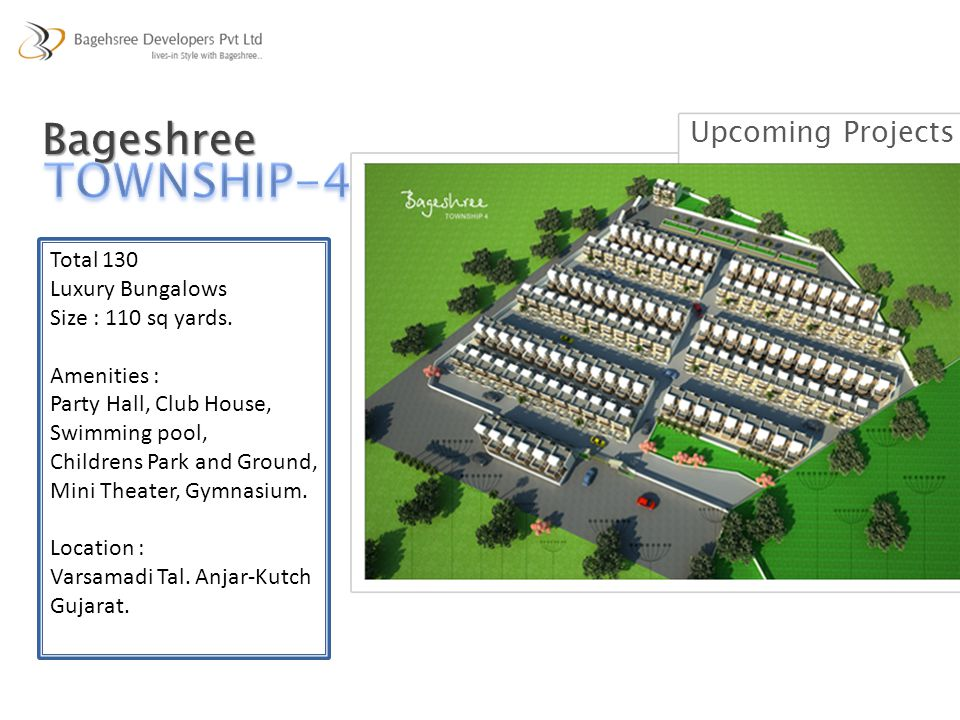 TOWNSHIP-4 Bageshree Upcoming Projects Total 130 Luxury Bungalows
