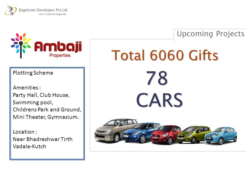 78 CARS Total 6060 Gifts Upcoming Projects Plotting Scheme Amenities :