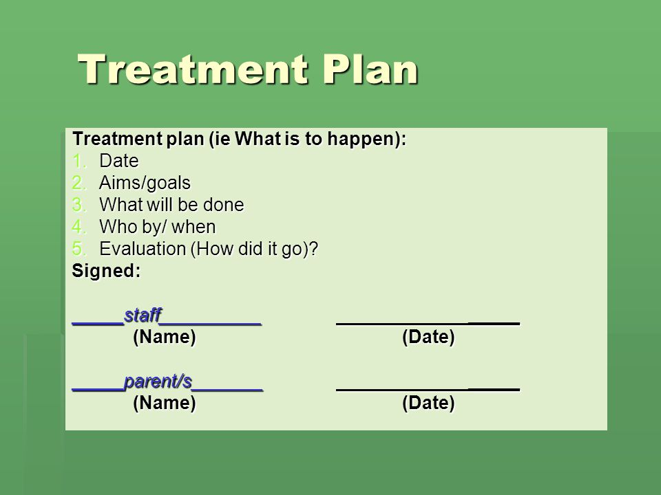 Treatment Plan Treatment plan (ie What is to happen): Date Aims/goals