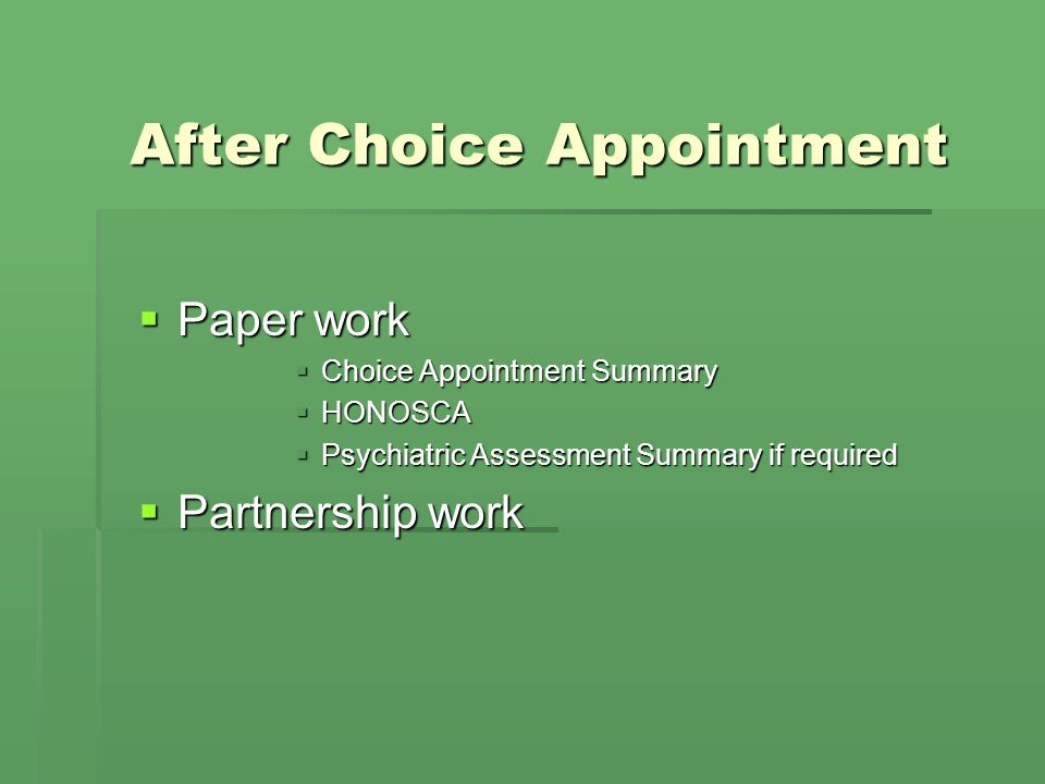 After Choice Appointment
