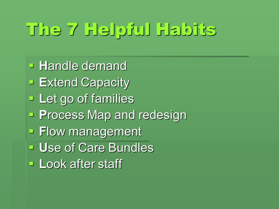 The 7 Helpful Habits Handle demand Extend Capacity Let go of families