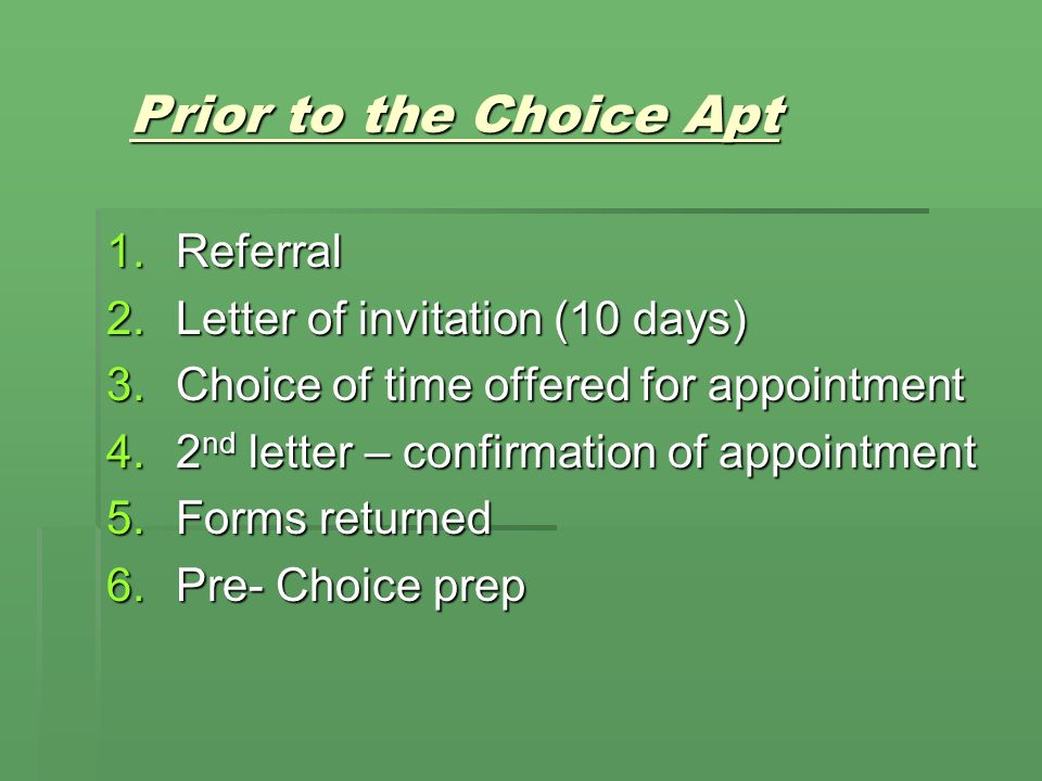 Prior to the Choice Apt Referral Letter of invitation (10 days)